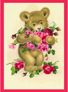 Postkarte  vermenschlichte Tiere beglittert 6Vg003
