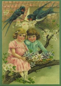 Glückwunschpostkarte beglittert 6Gg067