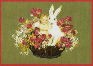 Osterpostkarten Sortiment Glückwunsch beglittert 6Gg058