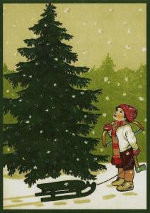 Postkarte Sortiment Weihnachten beglittert 6Wg012