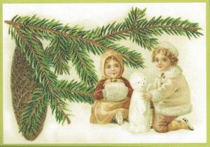 Postkarte Sortiment Weihnachten beglittert 6Wg015