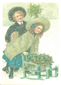 Postkarte Sortiment Weihnachten beglittert 6Wg036