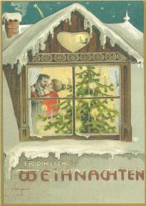 Postkarte Sortiment Weihnachten beglittert 6Wg038