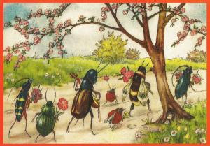 Postkarte  vermenschlichte Tiere beglittert 6Vg002