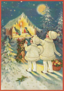 Postkarte Sortiment Weihnachten beglittert 6Wg079
