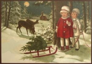 Postkarte Sortiment Weihnachten beglittert 6Wg073