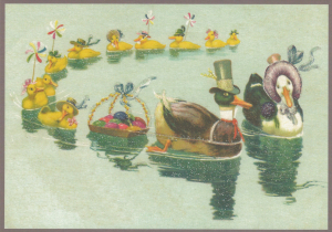 Postkarte vermenschlichte Tiere beglittert 6Vg005