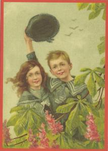Glückwunschpostkarte beglittert 6Gg115