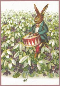 Postkarte Sortiment vermenschlichte Tiere beglittert 6Vg006