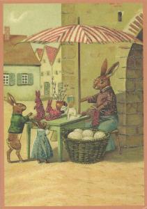 Postkarte Sortiment vermenschlichte Tiere beglittert 6Vg020