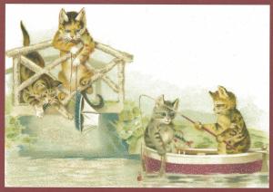 Postkarte  vermenschlichte Tiere beglittert 6Vg017