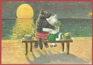Postkarte vermenschlichte Tiere beglittert 6Vg018