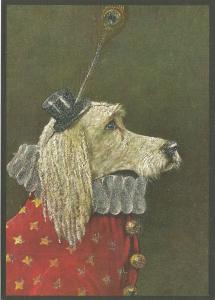 Postkarte vermenschlichte Tiere beglittert 6Vg025