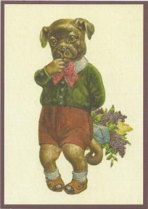 Postkarte vermenschlichte Tiere beglittert 6Vg009