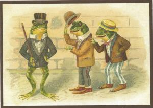 Postkarte vermenschlichte Tiere beglittert 6Vg012