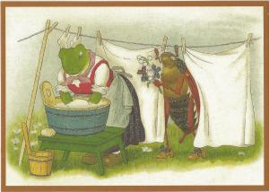 Postkarte  vermenschlichte Tiere beglittert 6Vg011