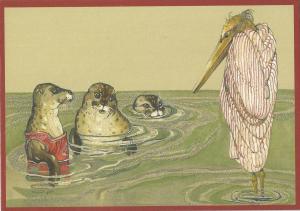 Postkarte vermenschlichte Tiere beglittert 6Vg010