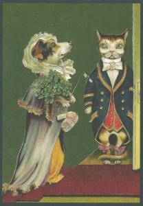 Postkarte vermenschlichte Tiere beglittert 6Vg021