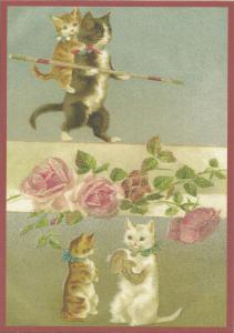 Postkarte vermenschlichte Tiere beglittert 6Vg016
