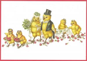 Postkarte vermenschlichte Tiere beglittert 6Vg019
