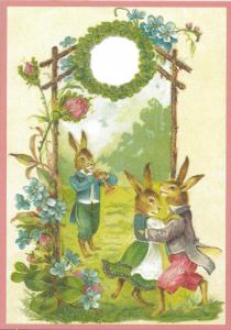 Postkarte vermenschlichte Tiere beglittert 6Vg008