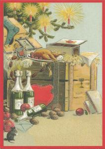 Postkarte Sortiment Weihnachten beglittert 6Wg104