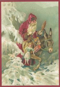 Postkarte Sortiment Weihnachten beglittert 6Wg099