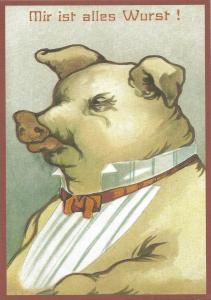 Postkarte vermenschlichte Tiere (A6) ohne unveredelt 6Vn024