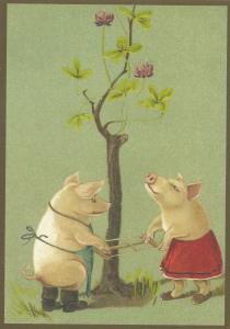 Postkarte vermenschlichte Tiere (A6) ohne unveredelt 6Vn023