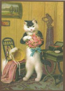 Postkarte vermenschlichte Tiere beglittert 6Vg033