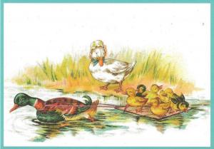 Postkarte vermenschlichte Tiere beglittert 6Vg032