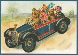 Postkarte vermenschlichte Tiere beglittert 6Vg031