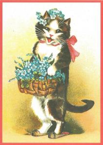 Postkarte vermenschlichte Tiere beglittert 6Vg037
