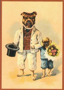 Postkarte vermenschlichte Tiere beglittert 6Vg047