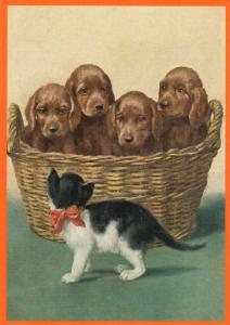 Postkarte vermenschlichte Tiere beglittert 6Vg045