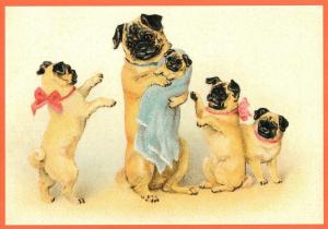 Postkarte vermenschlichte Tiere beglittert 6Vg044