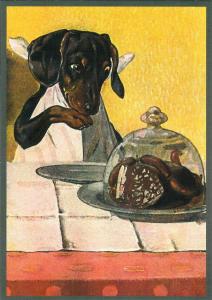 Postkarte vermenschlichte Tiere beglittert 6Vg046