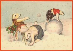 Postkarte vermenschlichte Tiere beglittert 6Vg041