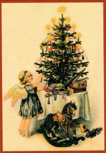 Postkarte Sortiment Weihnachten beglittert 6Wg113