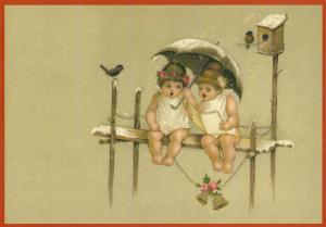 Postkarte Sortiment Weihnachten beglittert 6Wg100
