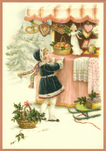Postkarte Sortiment Weihnachten beglittert 6Wg118
