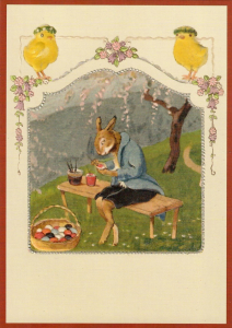 Postkarte Sortiment vermenschlichte Tiere geprägt 6Vp039