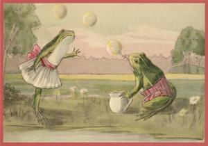 Postkarte vermenschlichte Tiere geprägt 6Vp038