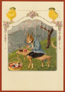 Postkarte vermenschlichte Tiere geprägt 6Vg039