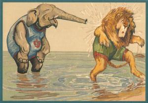 Postkarte vermenschlichte Tiere beglittert 6Vg042
