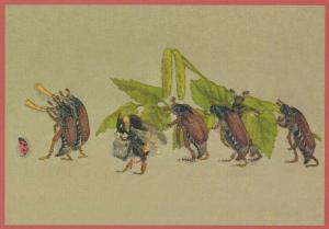 Postkarte vermenschlichte Tiere beglittert 6Vg043