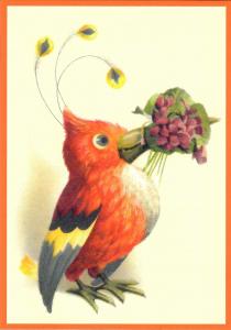 Postkarte vermenschlichte Tiere beglittert 6Vg048