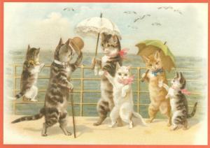 Postkarte vermenschlichte Tiere beglittert 6Vg050