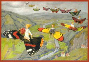 Glückwunschpostkarte beglittert 6Gg161