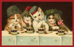 Postkarten sortiert mit Aufsteller, Sortiment V vermenschlichte Tiere historisches Postkartenformat